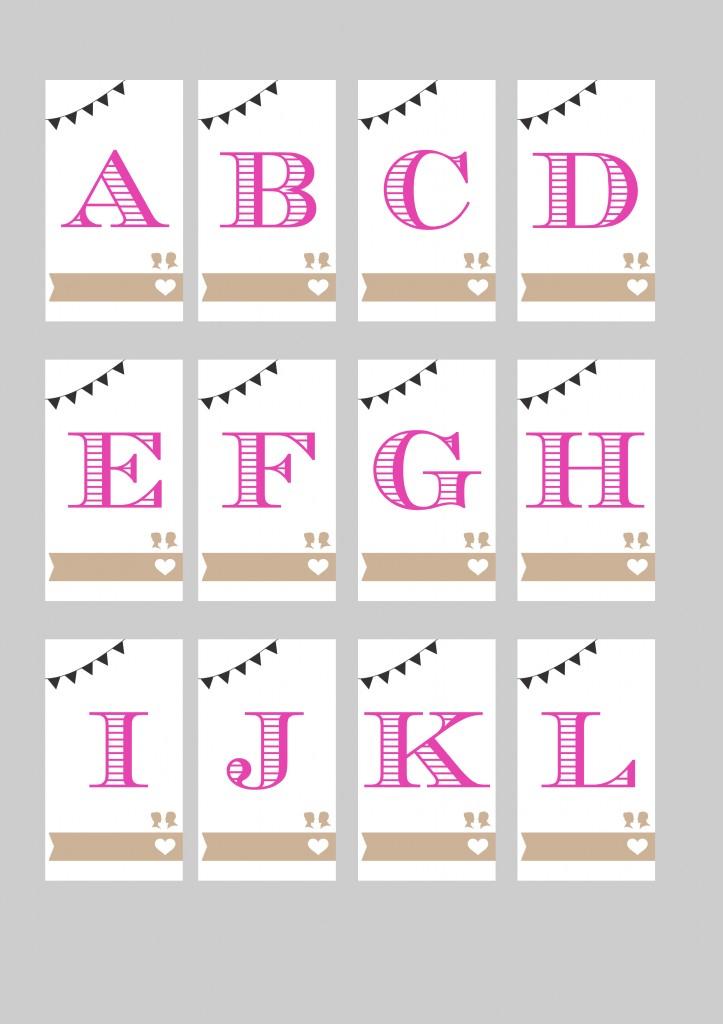 Escort card A4 Lettres 1