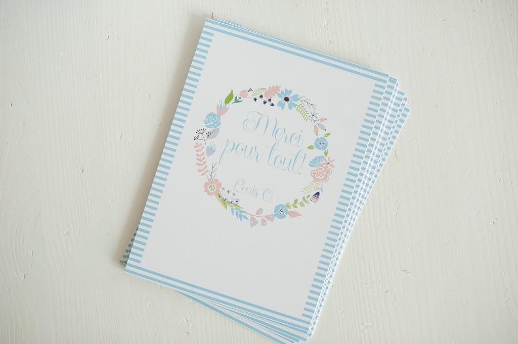 carte, couronne fleurie, bleu, cadeau, crèche, nounous