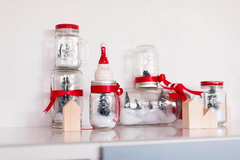 mason jar, noel, forêt, dorai, mini sapin, neige, ruban
